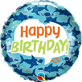 """18"""" Birthday Fun Sharks"""