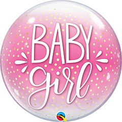 "22"" Baby Girl Pink and Confetti Dots Bubble"