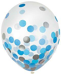 """12"""" Confetti Filled Latex - Blue & Silver"""