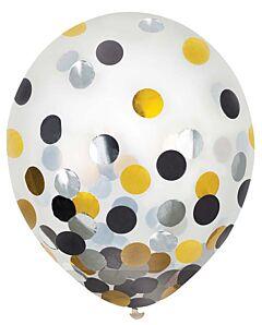 """12"""" Confetti Filled Latex -Black, Silver, Gold"""