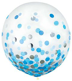 """24"""" Confetti Filled Latex - Blue & Silver"""