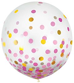 "24"" Confetti Filled Latex - Pink & Gold"