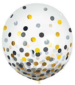 """24"""" Confetti Filled Latex -Black, Silver, Gold"""