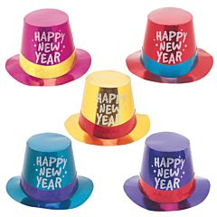 New Year Foil Glitter Top Hat