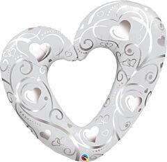 "42"" Hearts/Filigree Pearl White"