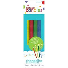 Candy Stripe Bday Candle - Asst