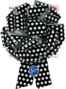 "10"" Pre-Made Bow - Black & White Dots"