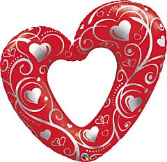 """42"""" Hearts And Filigree Red"""