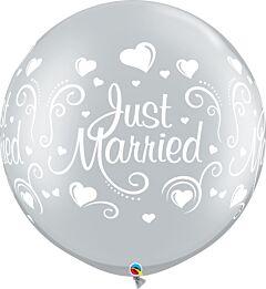 "30"" Qualatex Just Married Hearts Wrap Latex"