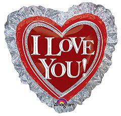 "28"" I Love You Heart Ruffle Holographic"