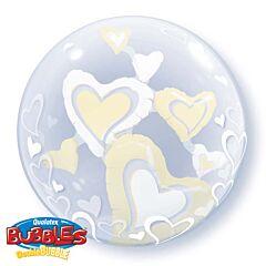 "24"" White & Ivory Floating Heart Double Bubble"