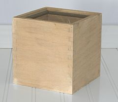 """5"""" Wooden Cube Planter - Natural"""