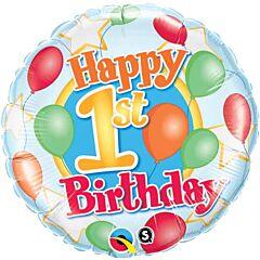 """18"""" 1st Birthday Balloons Stars"""