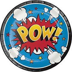 "7"" Super Hero Plate - 8ct"