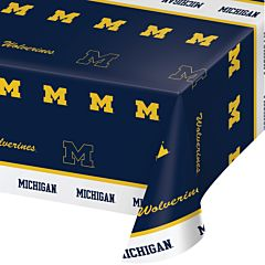 "54X108"" Plastic Table Cover - Michigan Univ"