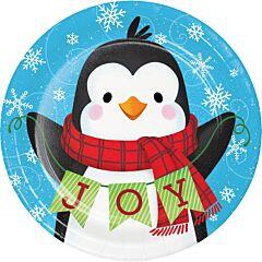 """Snowman/Penguin - 7"""" Plate 8Ct"""