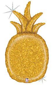 """35"""" Gold Glitter Pineapple"""