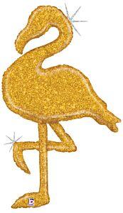 """53"""" Gold Glitter Flamingo"""