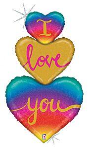 "40"" Heart Love Trio Holographic"