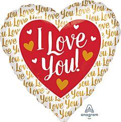 "28"" I Love You Gold Jumbo"