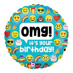 """18"""" Emoji OMG Birthday"""