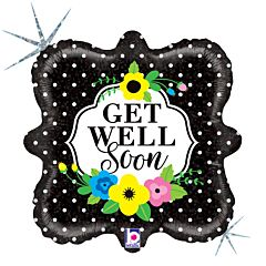 """18"""" Floral Get Well Soon Holographic"""