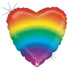 """18"""" Glitter Rainbow Heart"""