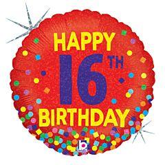 """18"""" 16th Bday Confetti Holographic"""