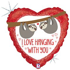 """18"""" Love Hanging Sloth Holographic"""