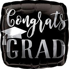 "18"" Congrats Grad Silver/Black"