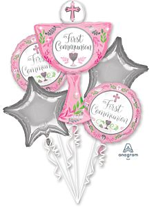 Bouquet Communion Day Girl Pink