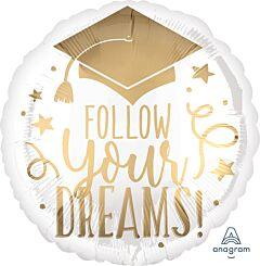"17"" Follow Your Dreams White & Gold"