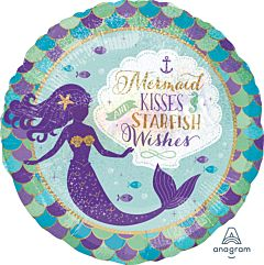 """18"""" Mermaid Wishes & Kisses Holographic"""
