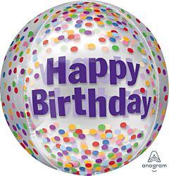 """16"""" Happy Birthday Funfetti Orbz"""