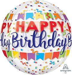 "16"" Happy Birthday Banner Bash Orbz"