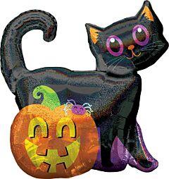 "28"" Black Cat/Pumpkin Holographic"