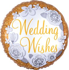 "17"" Wedding Wishes Gold & Silver"