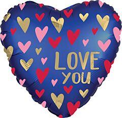 Satin Navy Gold Love