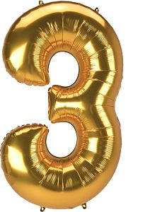 "53"" Anagram Jumbo Number 3 Gold"