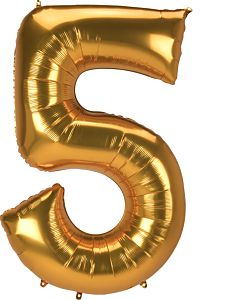 "52"" Anagram Jumbo Number 5 Gold"