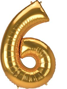 "54"" Anagram Jumbo Number 6 Gold"
