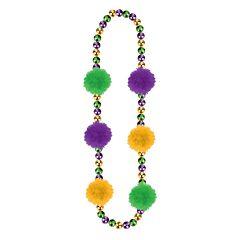 """31"""" Mardi Gras Beads W/Pom Poms"""