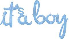 Phrase Script It's a Boy Light Blue
