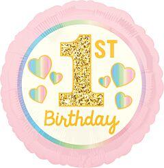 """17"""" Girl 1st Birthday Pink & Gold"""