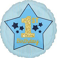 "17"" Boy 1st Birthday Blue & Gold"
