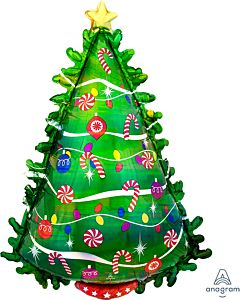 "36"" Green Xmas Tree Holographic"
