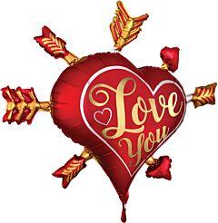 "34"" Satin Love You Arrows"