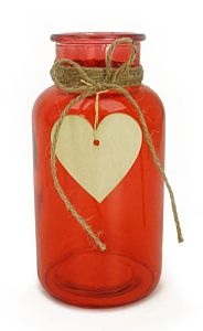 """6.3"""" Red Glass Vase with Heart Dangle"""