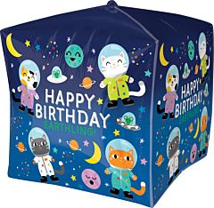 "15"" Happy Birthday Space Cats Cubez"