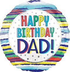 Happy Birthday Dad Painted Stripes